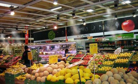 Dirbtinio rūko sistemos naudojimas daržovių sandėliuose.