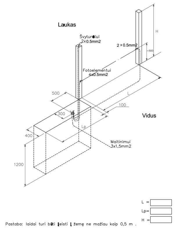 Galima varstomų vartų laidų montavimo schema:
