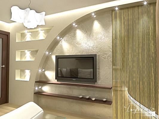 Дизайн гостиной из гипсокартона фото